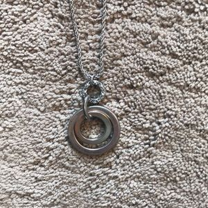 LOFT long silver double ring necklace